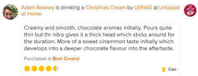 Christmas Cream Lervig untappd review