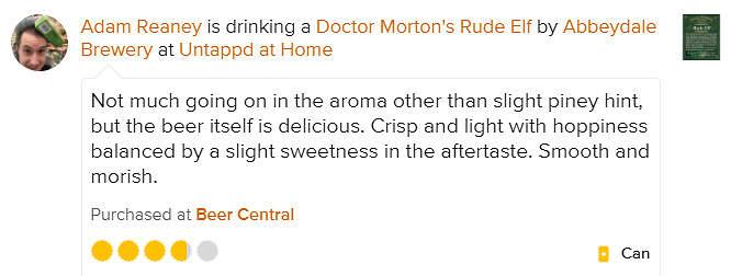 Doc Morton's Rude Elf untappd review