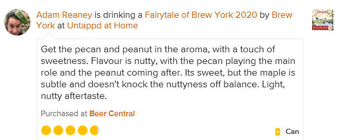 Fairytale of Brew York 2020 untappd review Adam