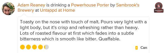 Powerhouse Porter untappd review Adam