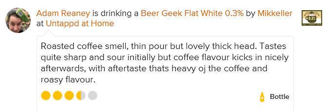 Beer Geek Flat White 0.3% Stout Mikkeller untappd review Adam