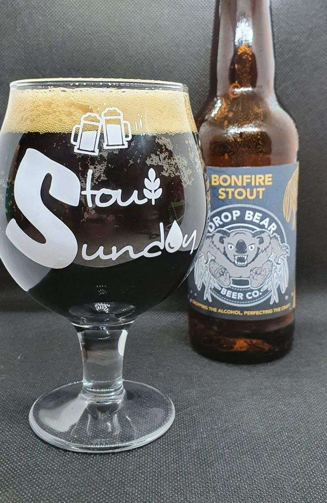 Bonfire Stout (alcohol free) bottle and pour