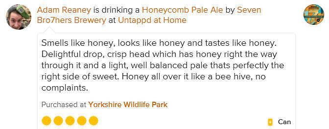 Honeycomb Pale Ale Untappd Review Adam