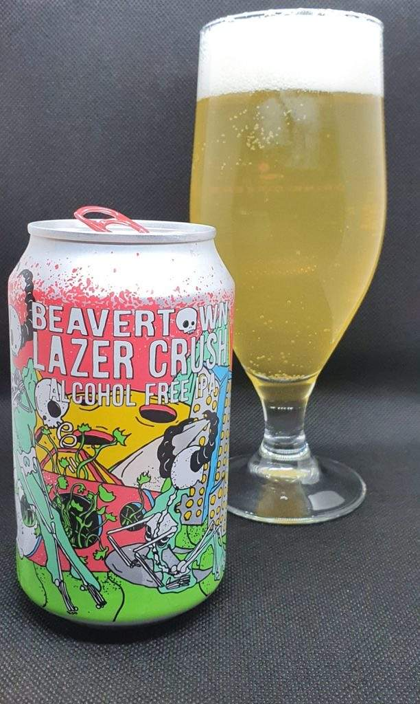 Lazer Crush Alcohol Free IPA can and pour