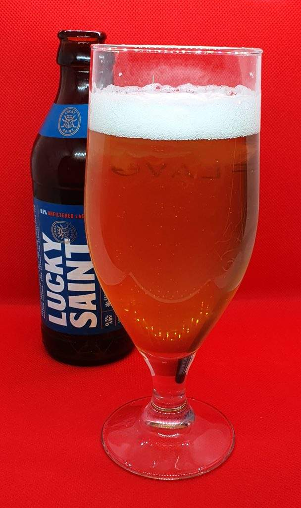 Lucky Saint (alcohol-free) bottle and pour