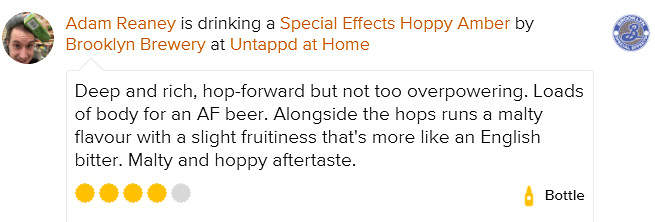 Special Effects AF Untappd Review Adam