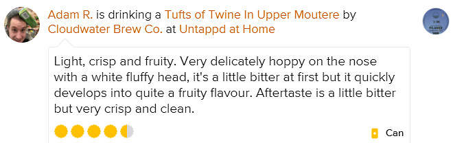 Tufts of Twine in Upper Moutere Untappdo Review Adam