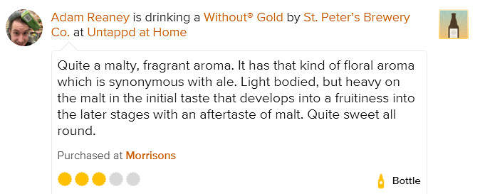 St Peter's Without Gold Untappd Review Adam